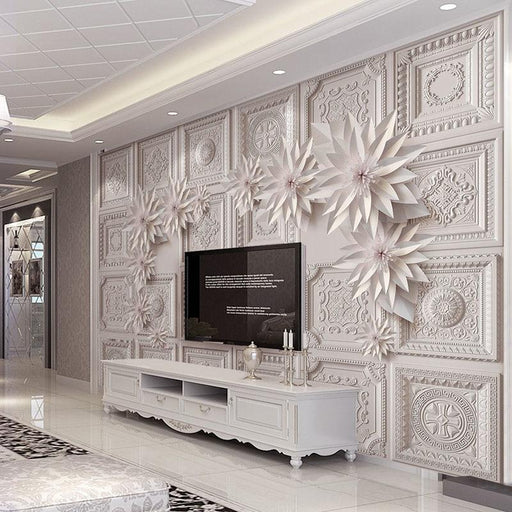 3D Wallpaper - 3D Hotel Mural Embossed Flowers Wallpaper
