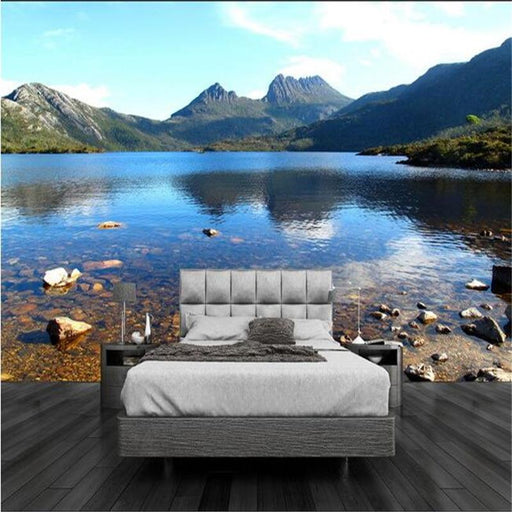 3D Wallpaper - 3D Non-Woven Lake Mountain Stream Wallpaper Sticker