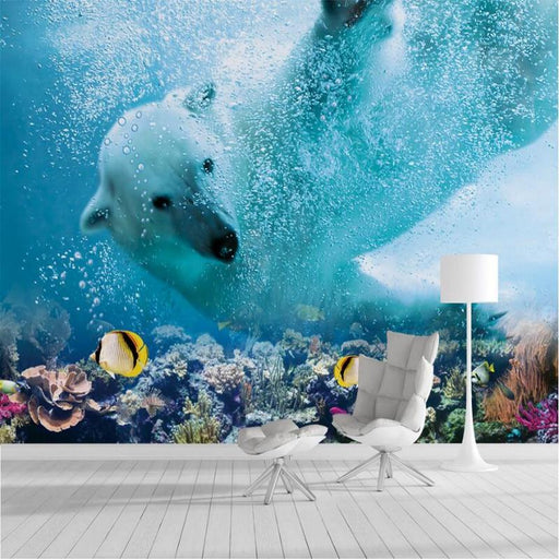 3D Wallpaper - Polar Bear Underwater Decorative Wallpaper