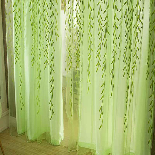 Cute Willow Leaf Tulle Pastoral Style Curtains & Blinds