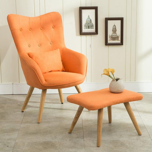 Accent & Armchairs - Mid Century Linen Style Arm Chair & Footstool Set