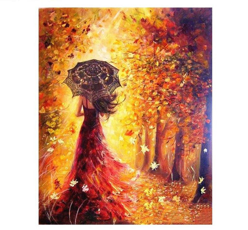 Acrylic Wall Art - Beautiful Women Autumn Landscape Painting Acrylic Modern Wall Art