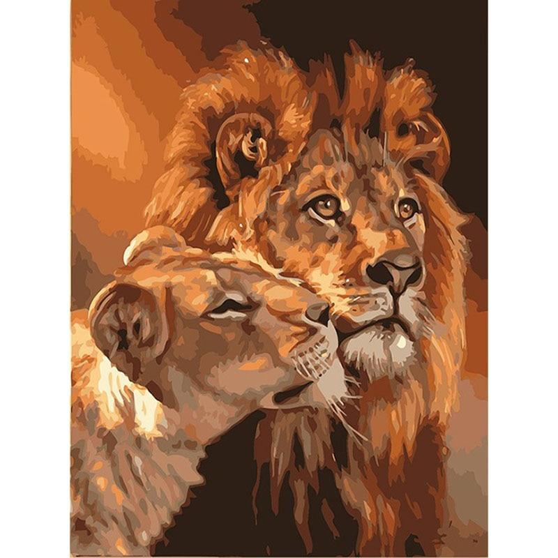 Acrylic Wall Art - The Lion Couple Painting Coloring Oil Canvas Home Artwork