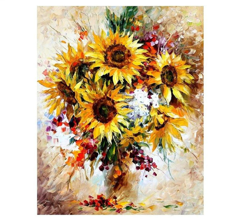 Acrylic Wall Art - Yellow Framed Sunflower DIY Digital Painting Acrylic Picture