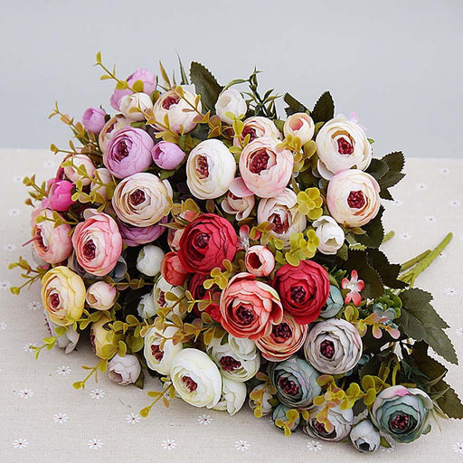 Artificial & Silk Plants - 10 Head / 1 Bundle Silk Tea Roses Artificial Flower Decoration