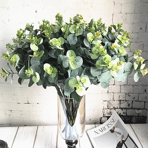 Artificial & Silk Plants - 16 Heads Eucalyptus Bouquet Silk Artificial Flower Leaves