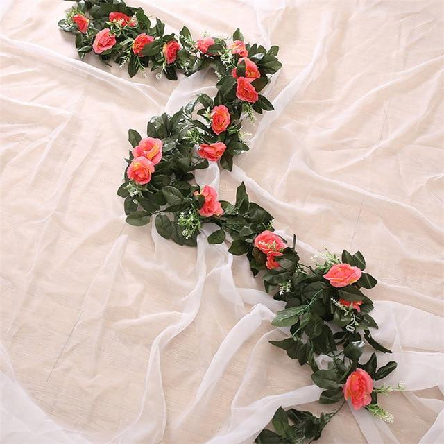 Artificial & Silk Plants - Artificial Hanging Rose Fake Flowers & Leaves Wall Decoration