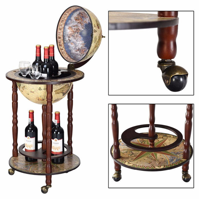 Bar Carts - Large Globe Design Wine Bar Shelf Bar Cart