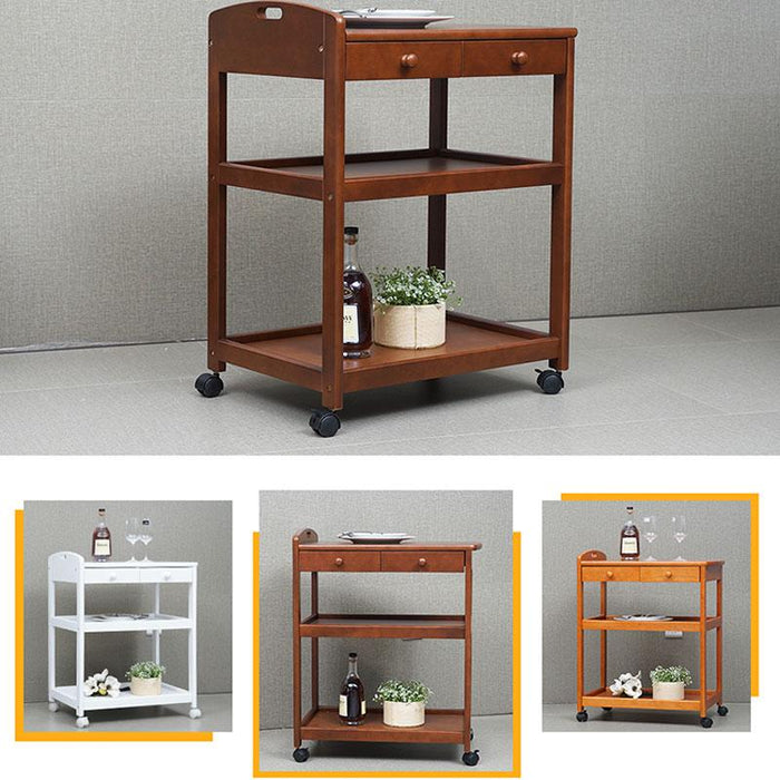 Bar Carts - Wooden Diners With Wheels Parlour Furnish Home Serving Carts