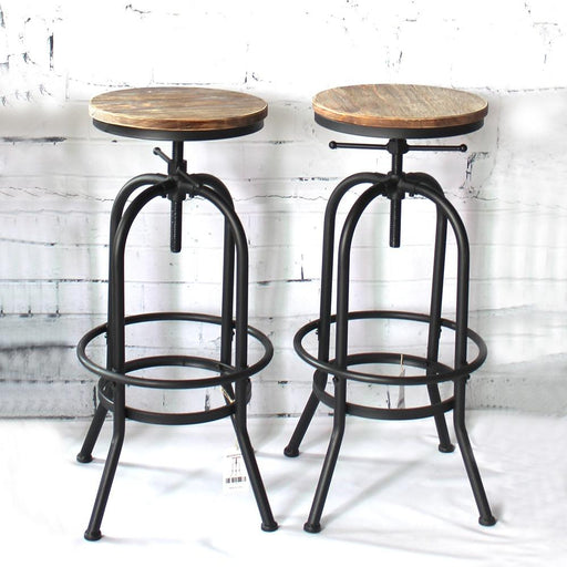 Bar Stools - Swivel Adjustable Industrial Natural Pinewood Stool