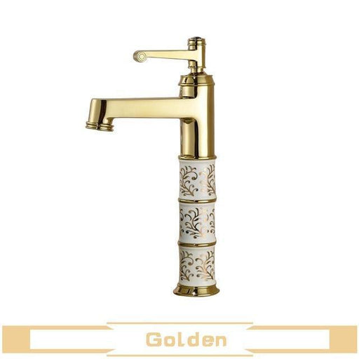 Basin Faucet - Elegant Golden Ceramic Basin Bathroom Single Handle Faucet