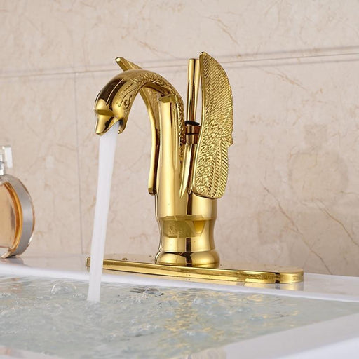 Basin Faucet - Golden Swan Shape Deck Mount Vessel Sink Faucet
