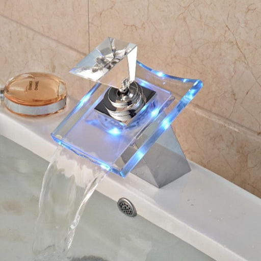 Basin Faucet - LED Color Luxury Glass Waterfall Basin Faucet