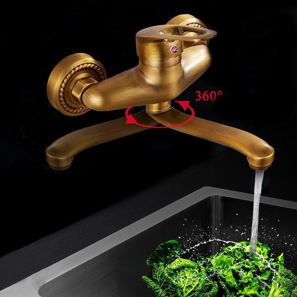 Basin Faucet - Wall Mount 360 Degree Rotation Cold And Hot Water Taps Faucet