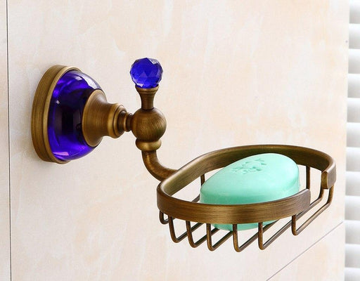 Bathroom Soap Holders - Antique Brass With Ceramic Soap Holder