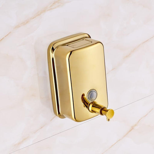 Bathroom Soap Holders - Wall Mounted Golden Liquid Soap Dispenser Box