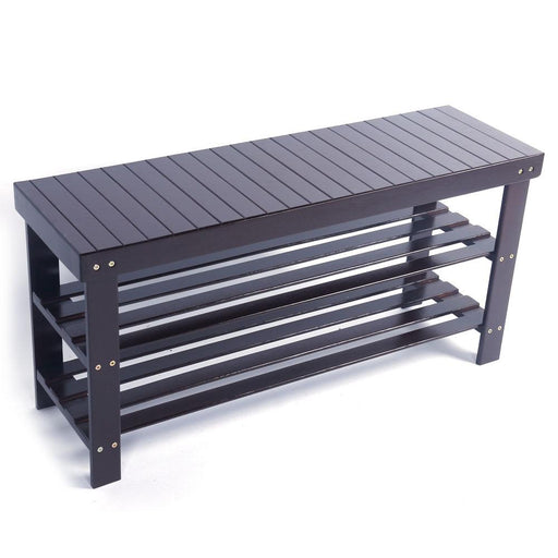 Benches - Triple Tier Entryway Furniture Shoe Rack Storage Bench