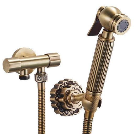Bidet Faucet - Wall Mount Antique Brass Bidet With Bracket