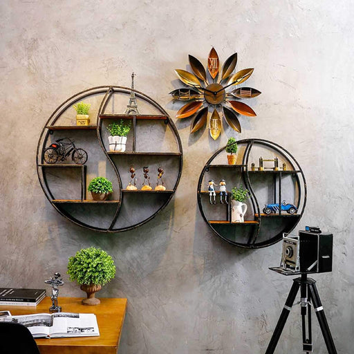 Book Cases - Round Wood Iron Books Display Hanging Shelf Retro Style
