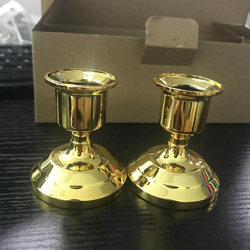 Candles & Holders - 2 Pcs Silver & Gold Candle Stick Holder Decors