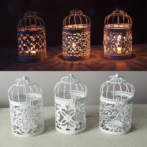 Candles & Holders - White Hollow Tealight Hanging Lantern Candlestick
