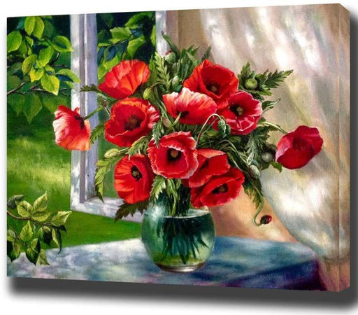 Canvas Painting Art - Framed Oil Painting Red Flowers & Nature Window Wall Art