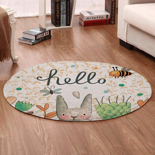 Carpets & Mats - Cartoon Rabbit Printed Round Rug Carpet Mat