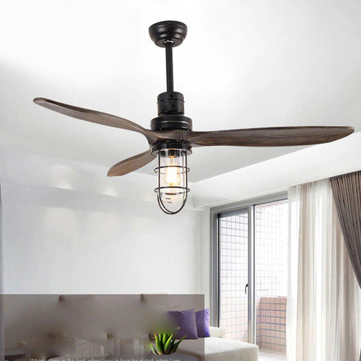 Ceiling Fans With Lights - Loft Iron Wood Glass Ceiling Fan LED Lights