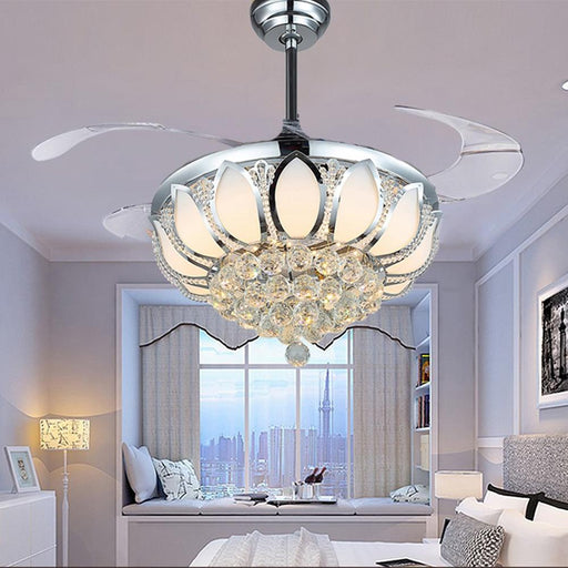 Ceiling Fans With Lights - Modern Crystal Light Luxury Ceiling Fan Light Lamp With Remote