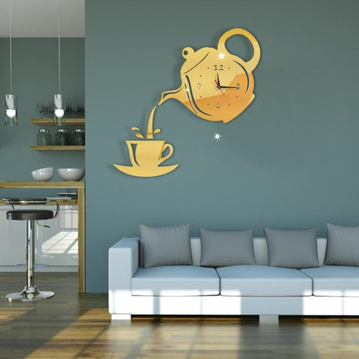 Clocks - Creative Acrylic Coffee Cup Teapot 3D Wall Clock