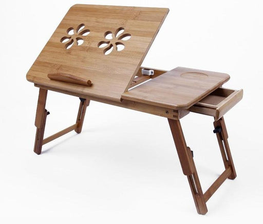 Coffee Table - Foldable Laminating Portable & Adjustable Classic Bamboo Coffee Table