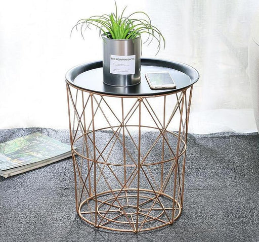 Coffee Table - Modern Rose Gold Round Wire Metal Storage Side Coffee Table