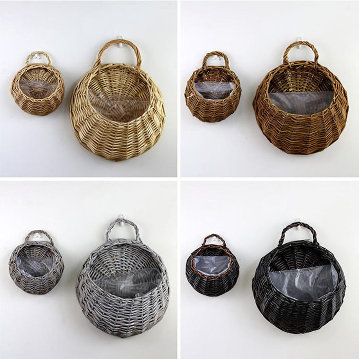 Decorative Baskets - Natural Wall Hanging Flower Basket Planter