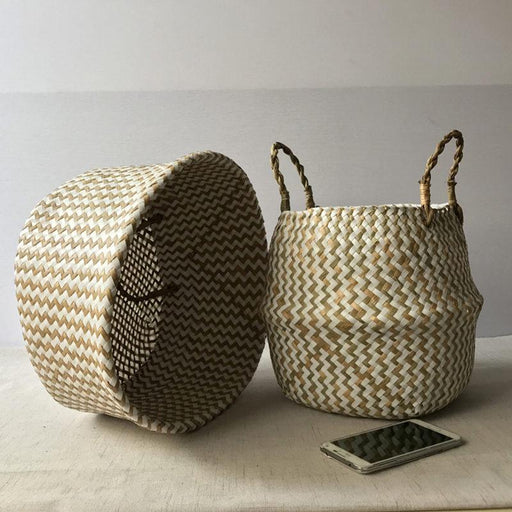 Decorative Baskets - Rattan Belly Straw Garden Flower Basket