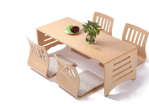 Dining Tables - 5 Pcs Set Modern Low Floor Legs Wooden Table