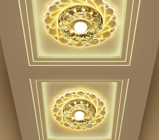 Flash Mount Lights - LED Crystal Lotus Ceiling Flush Mount Warp Light Lamp