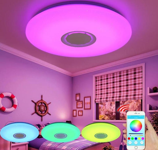 Flash Mount Lights - Music LED Ceiling Light With Bluetooth Control Changing Lights