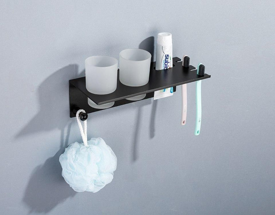Hair Accessory Hardwares - Wall Mounted Space Aluminum Cup Holder With Hook Shelf