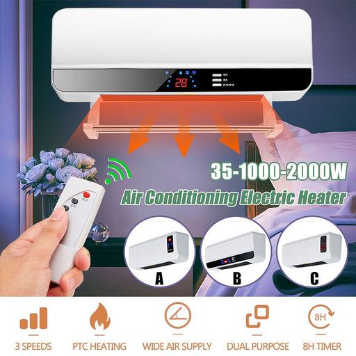 Heaters - Wall Mounted Remote Control Heater For Home & Energy Saving