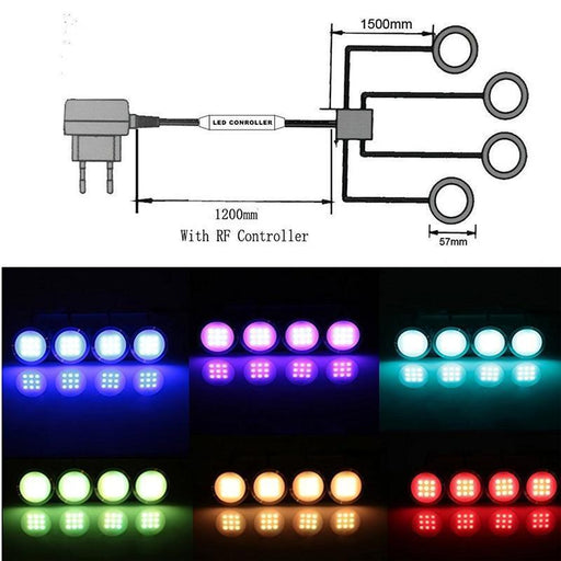 Home Improvemnt - 6 Set LED RGB Puck Lights With RF Remote Control