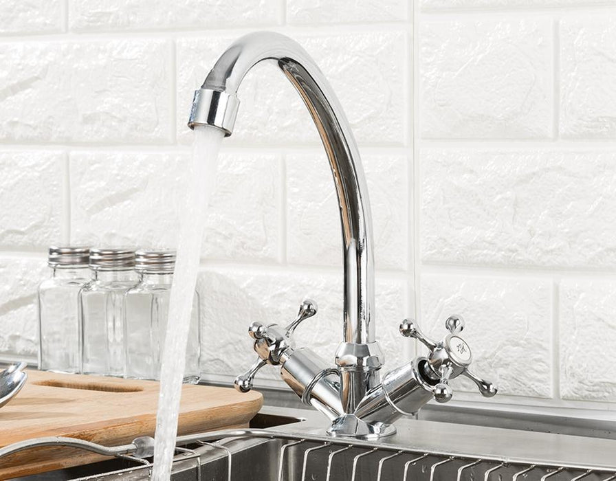 Kitchen Faucet - Deck Mounted Dual Handle 360 Degree Kitchen Faucet