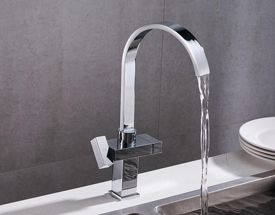 Kitchen Faucet - Modern Style Square Faucet