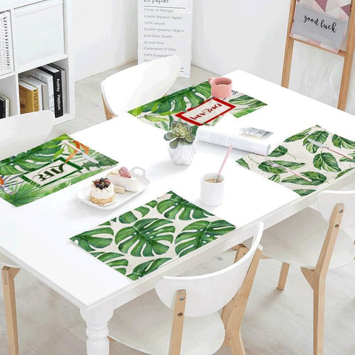 Kitchen Linens - Tropical Green Plant Linen Material Table Cloth
