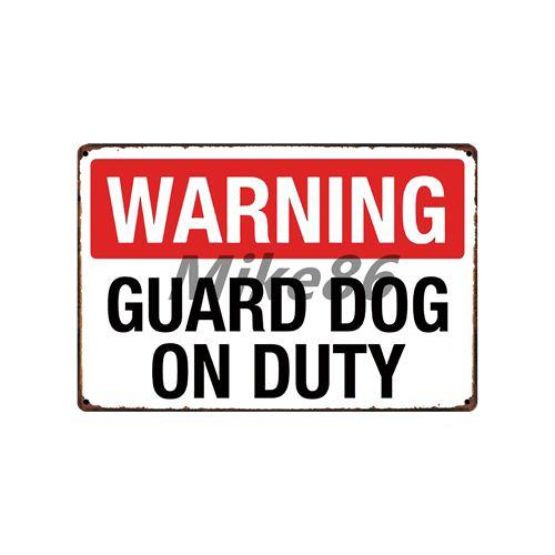 Metal Art - Beware Of The Dog Guard On Duty Metal Tin Sign Wall Plaque Painting Wall Art
