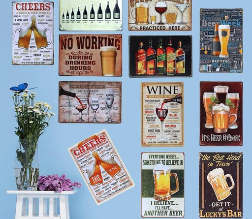 Metal Art - Cheers & Drinking Wine Beer Poster Wall Metal Signs