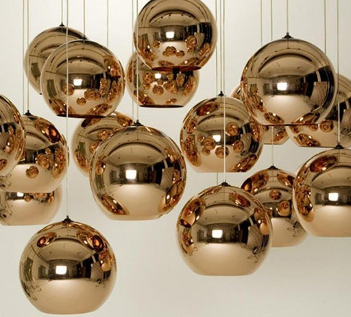 Pendant Lights - Vintage Gold/Silver Plated Glass Shade Pendant & Hanging Lamp Lights