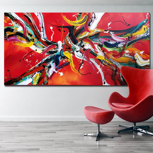Pop Art - Red Line Abstract HD Oil Painting Canvas Art