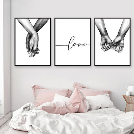 Posters & Prints - Black & White Holding Hands Picture Canvas Lover Posters & Prints