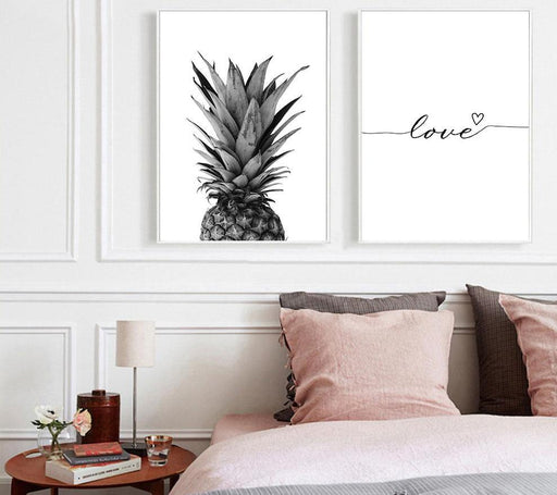 Posters & Prints - Pineapple Love Quote Nordic Prints & Posters Wall Canvas