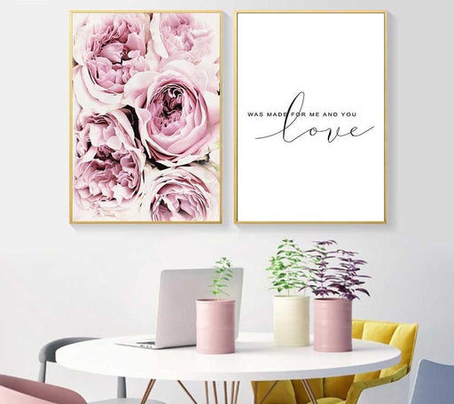 Posters & Prints - Pink Style Flower Painting Wall Art Canvas Posters & Prints